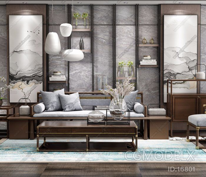 Groovy New Chinese Style Sofa Furniture Combination 3D Model Theyellowbook Wood Chair Design Ideas Theyellowbookinfo